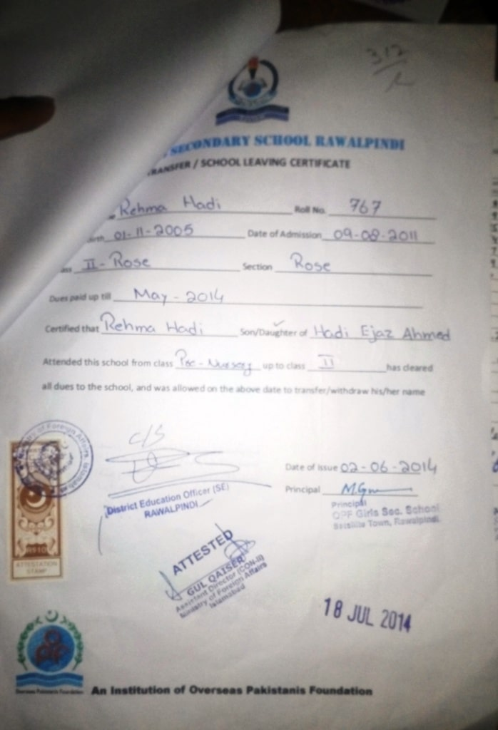 School Leaving Certificate and Result Card attestation from Saudi Embassy